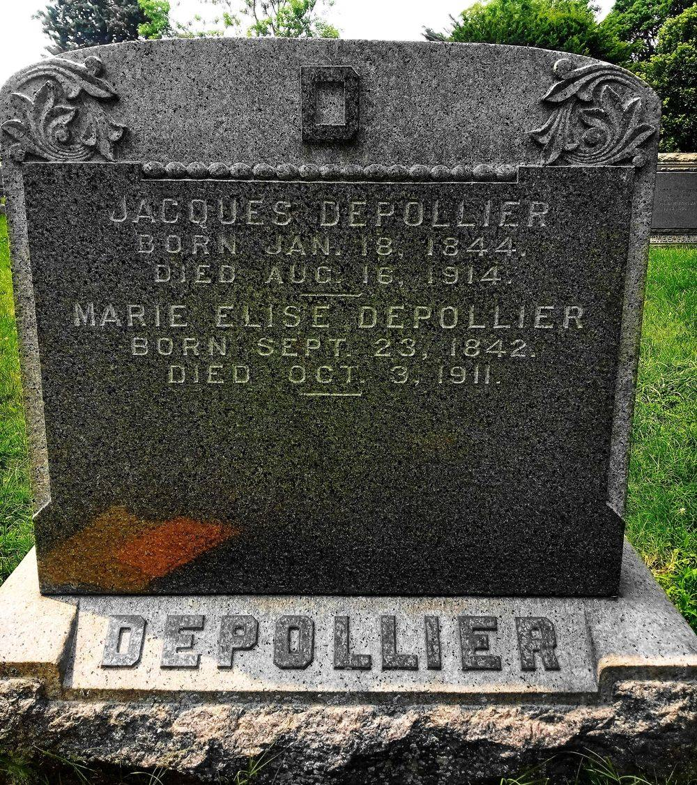 The Depollier Family Plot Headstone before the names of Charles & Elizabeth were added yesterday.