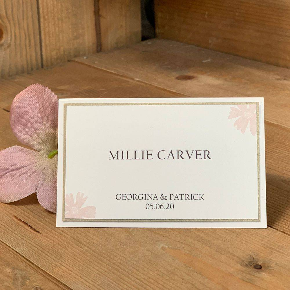 Pink and ivory wedding place name