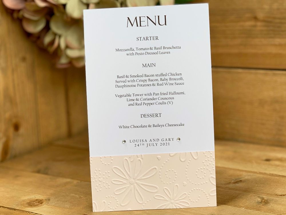 White and Blush wedding menu card