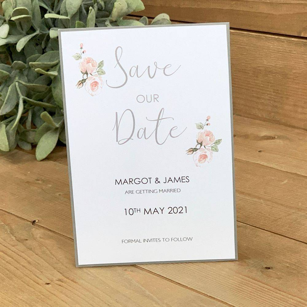 Grey and White Save the Date Card with pink roses