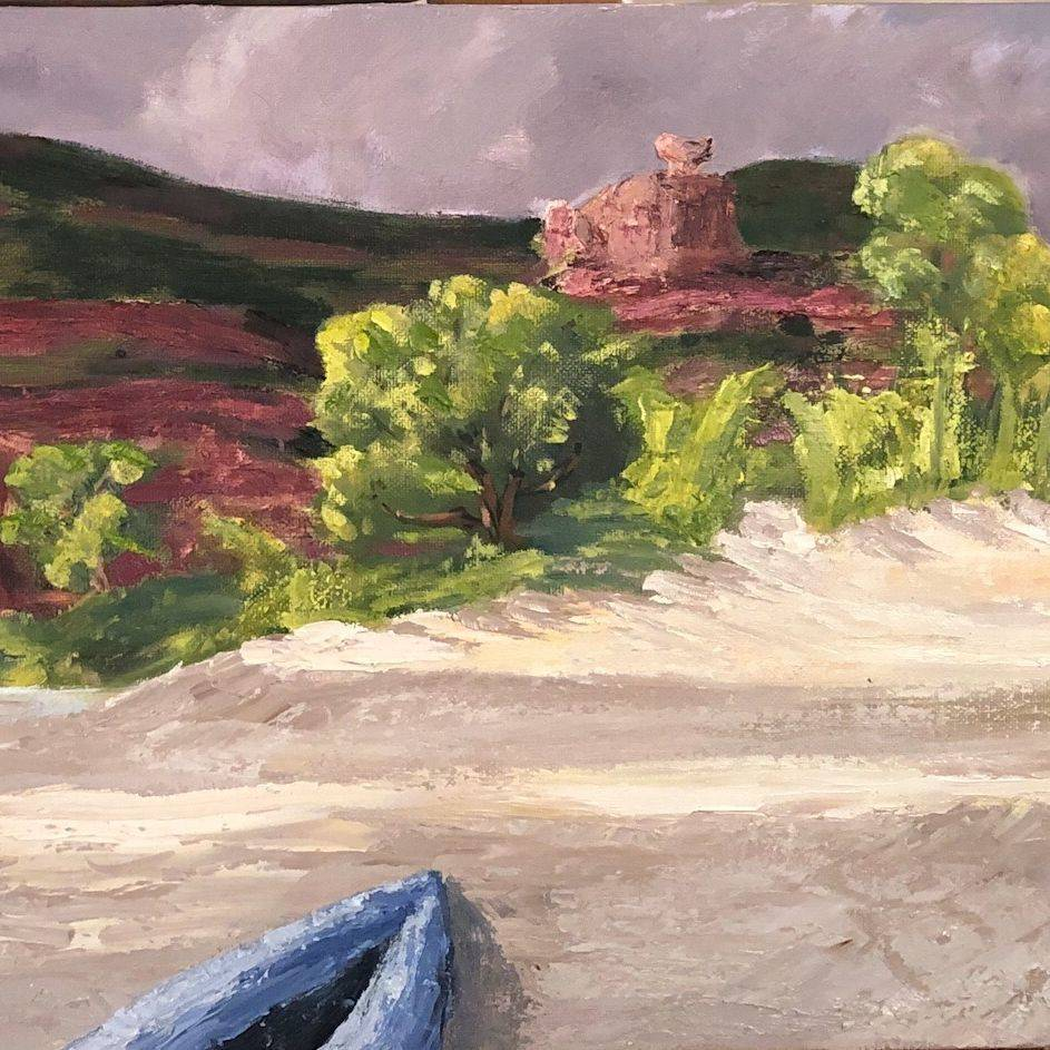 "16x20"" oil on canvas, San Juan River, rafting, camping, rapids, boating, boat'n, canyon, river"