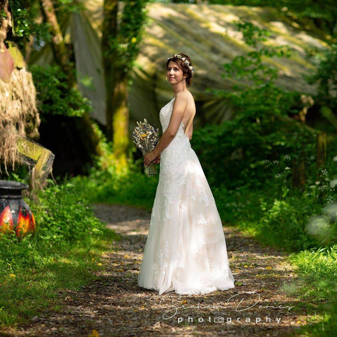 Beautiful Bride in the enchanted forest at Coed Weddings