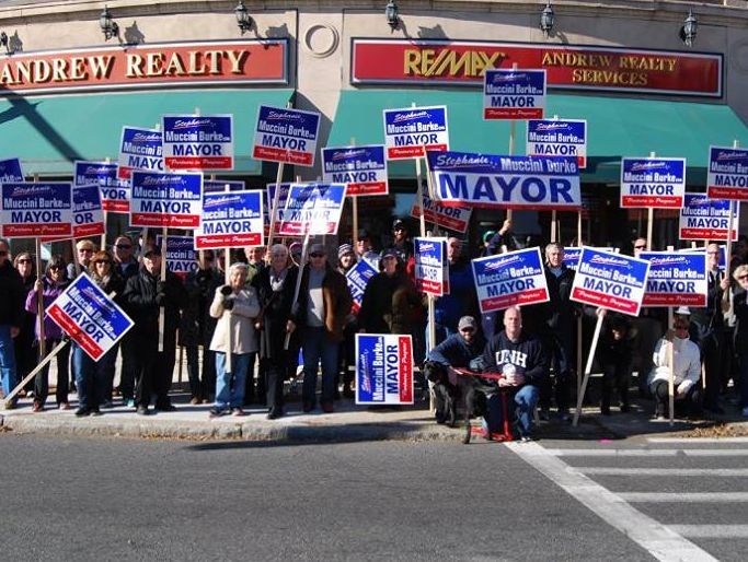 Mayor Burke and team in Medford Square