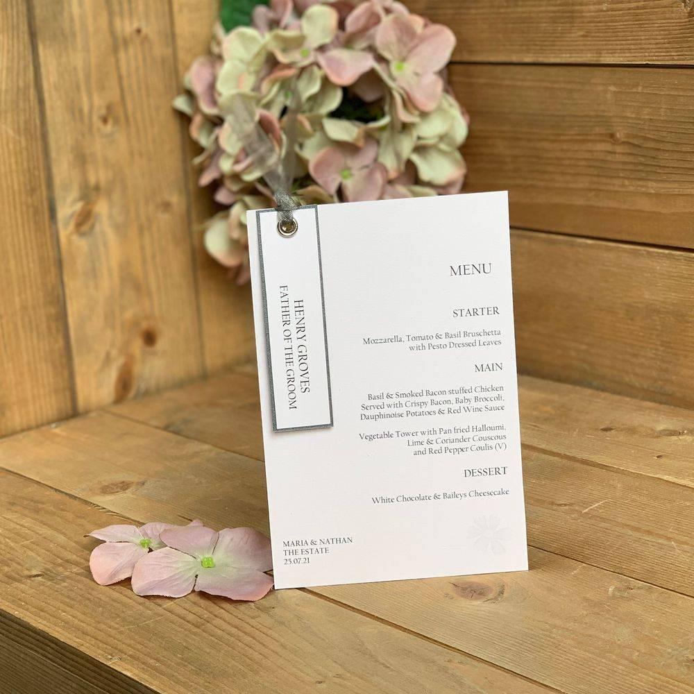 Blush pink and grey menu and place name
