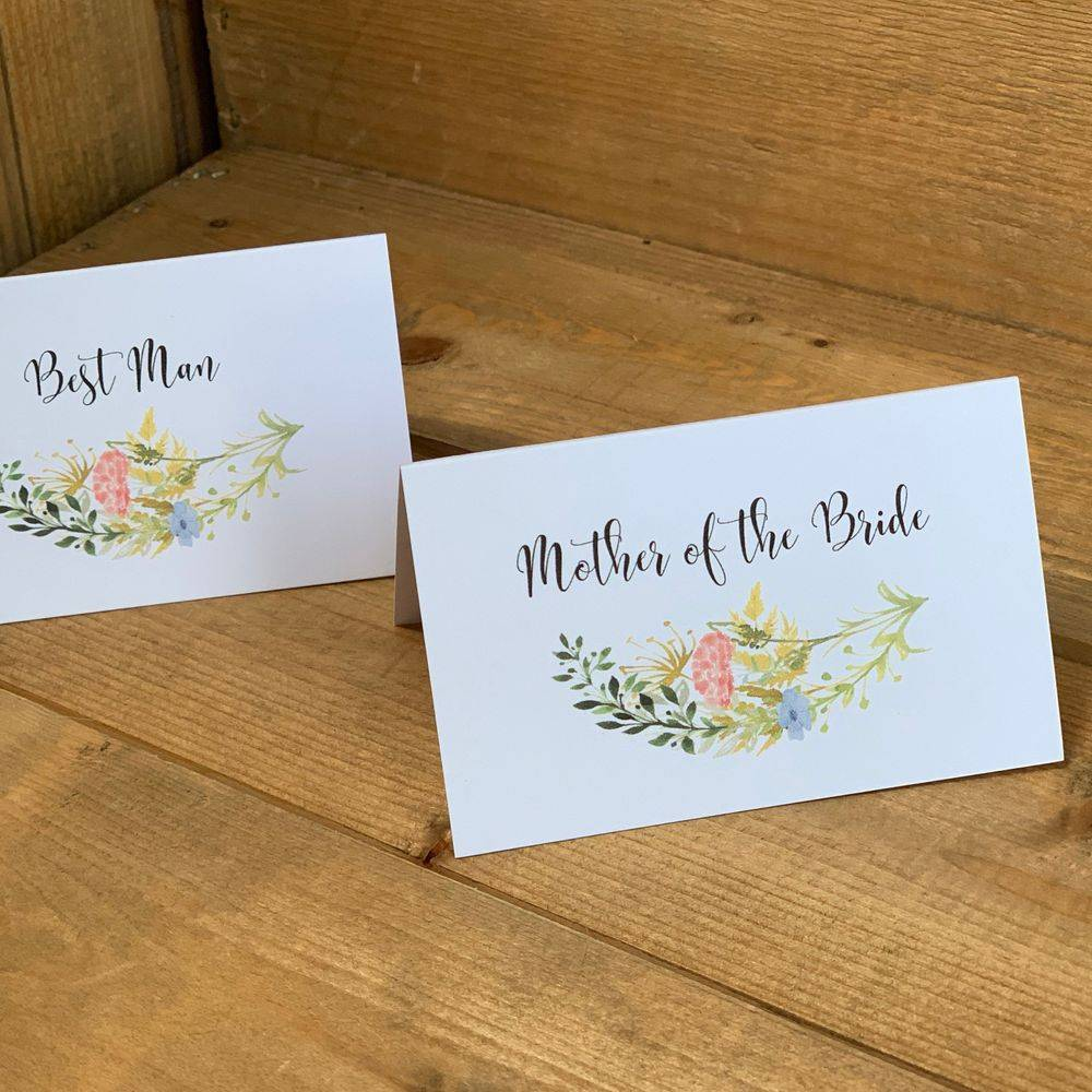 Rustic place name cards, country wedding, meadow flowers