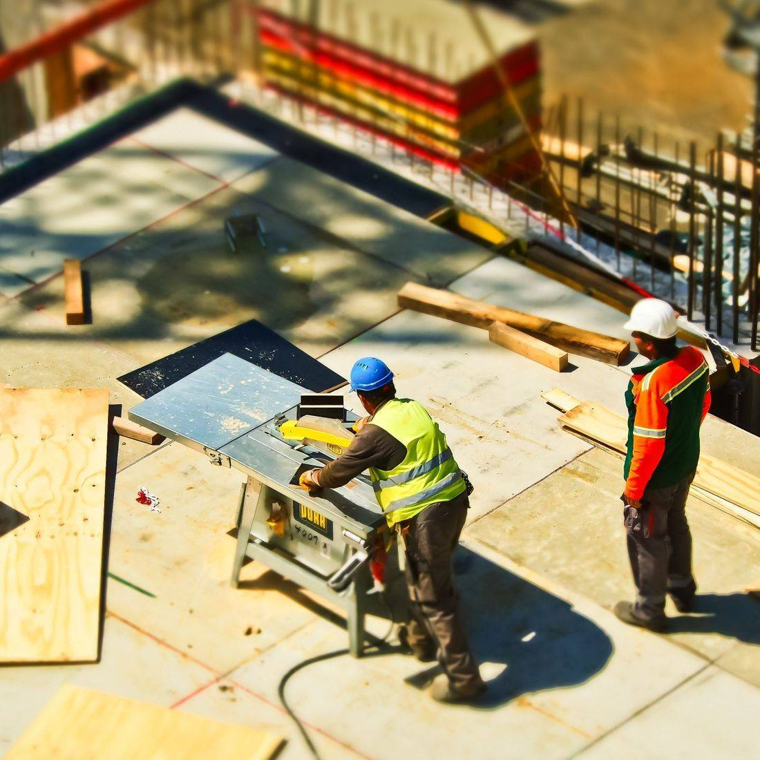 Builders working on a construction site