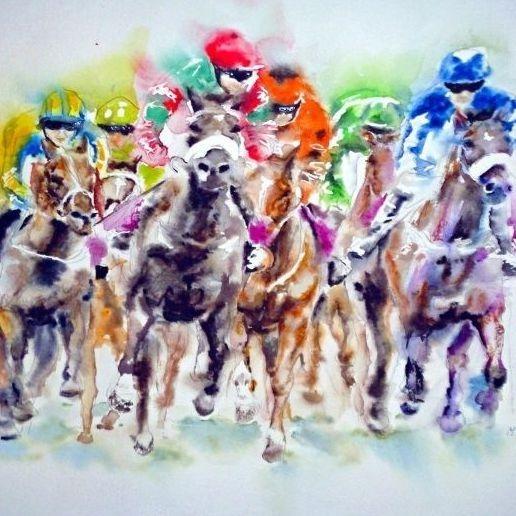 Watercolour Equestrian by Mary Saifelden