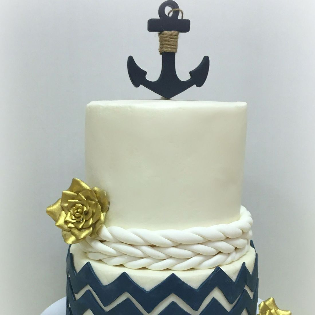 nautical birthday cake anchor chevron navy blue and white gold