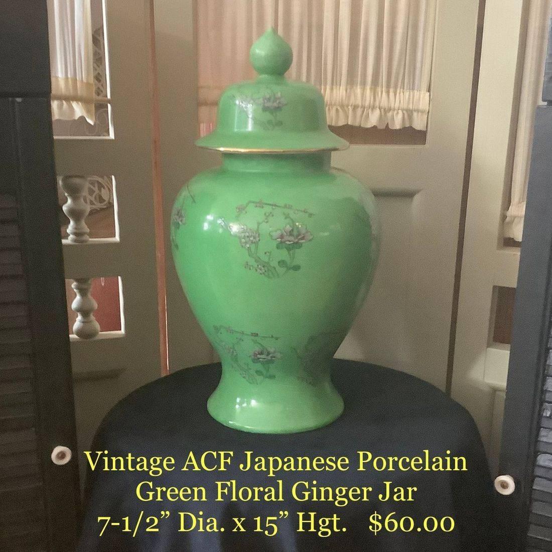 Vintage ACF Japanese Porcelain Green Floral Ginger Jar   $60.00