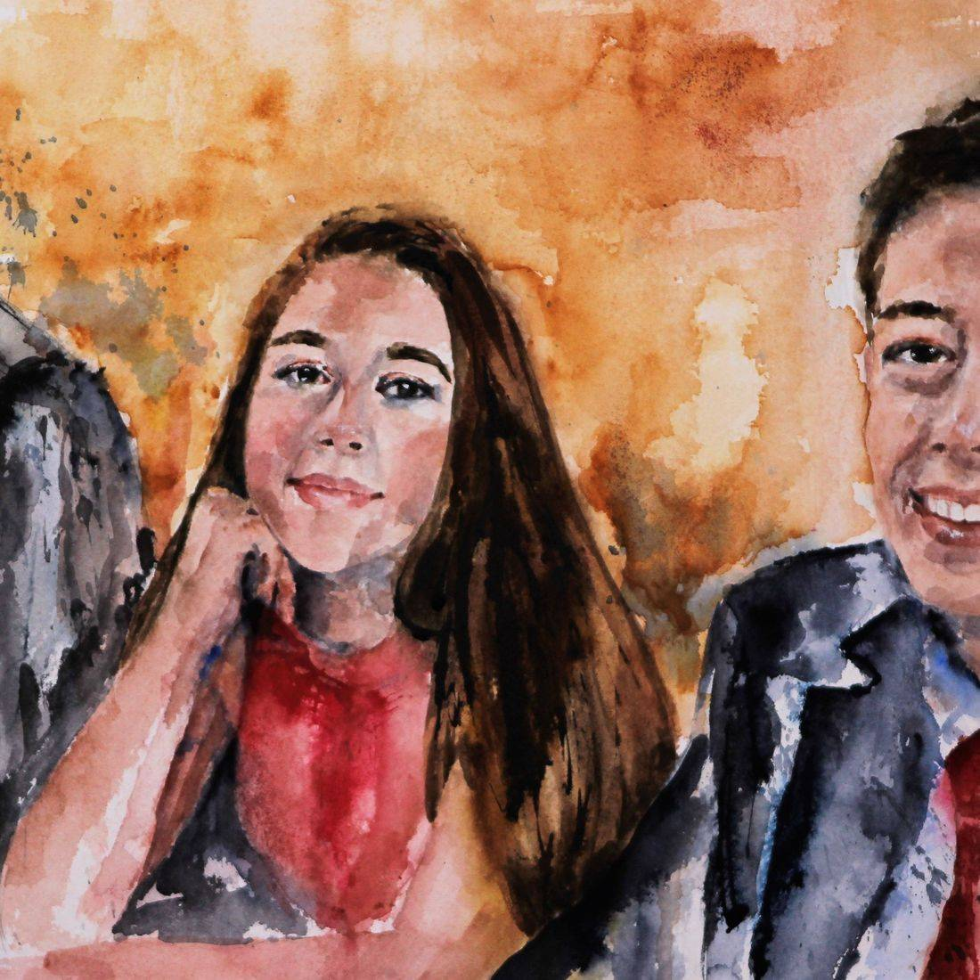 R Putbrese watercolor painting of 2 brothers and 1 sister by Rebecca Krutsinger