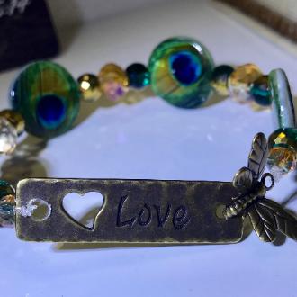 peacock beaded bracelet, peacock bracelet, women's peacock bracelet, brass toggle clasp