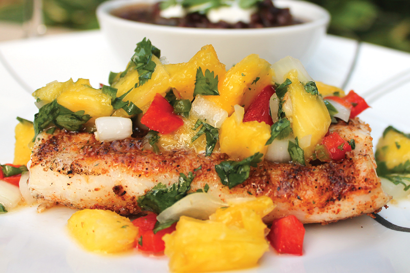 Grilled chicken with mango salas is delicious.