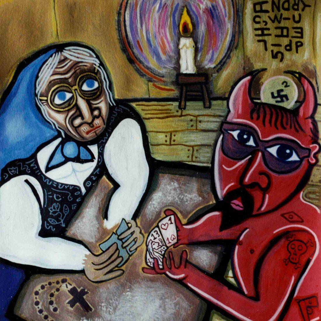 Grandmother, Devil, Playing Cards, Deck of Cards, Gambling, Selling One's Soul, Card Game, Poker