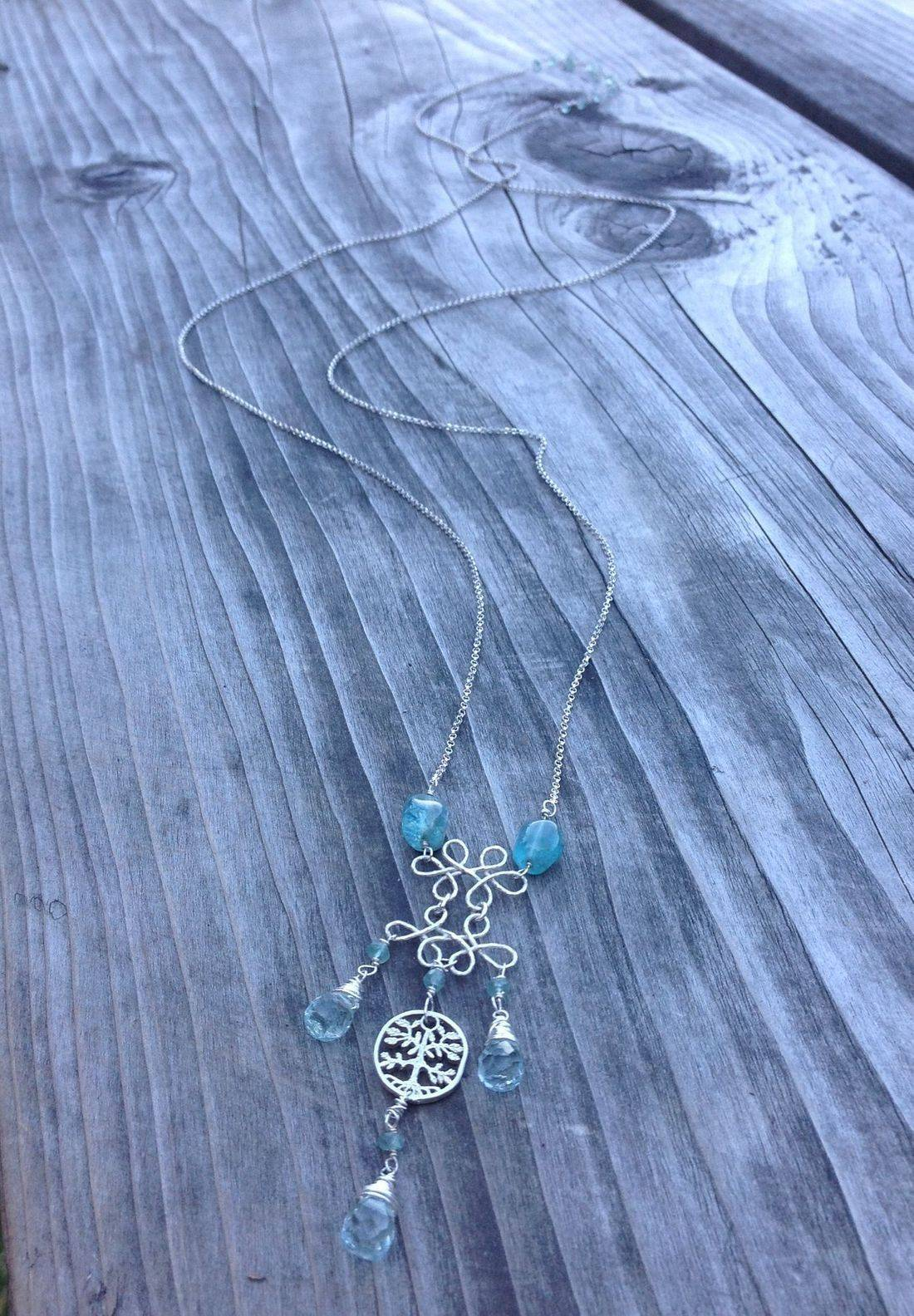 aqua marine chandelier pendant,  long sterling silver chain