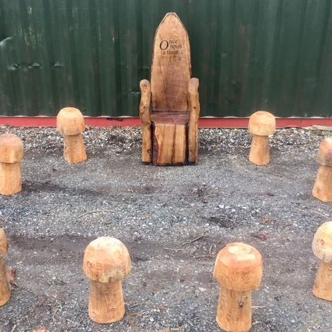 Story chair Chainsaw Carving, Mike Burgess, Cheshire UK