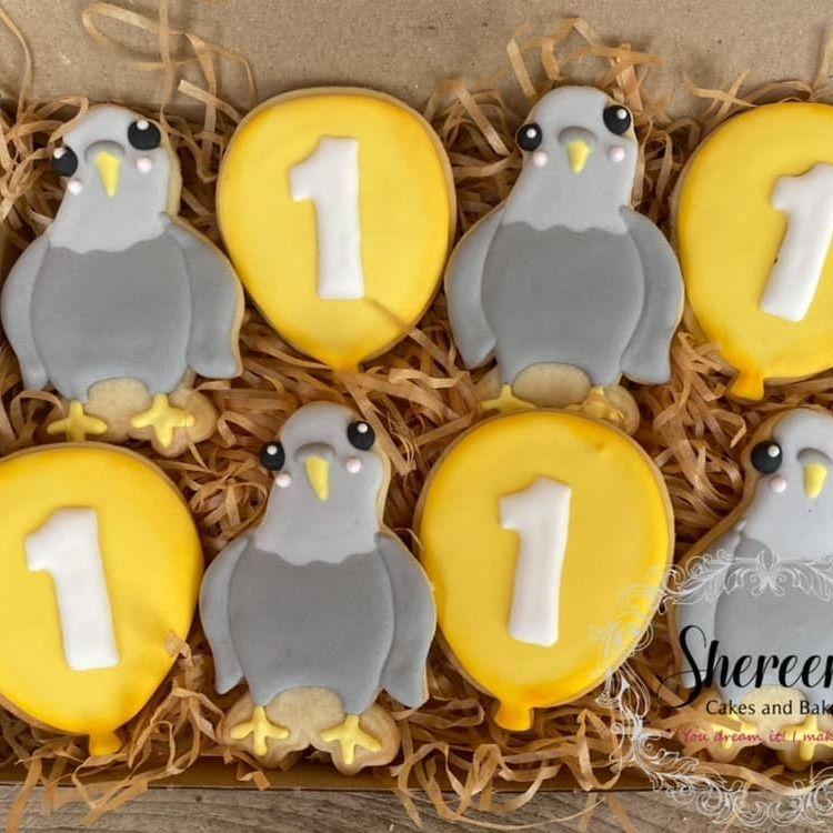 Pigeon Balloon 1st Birthday Cookies