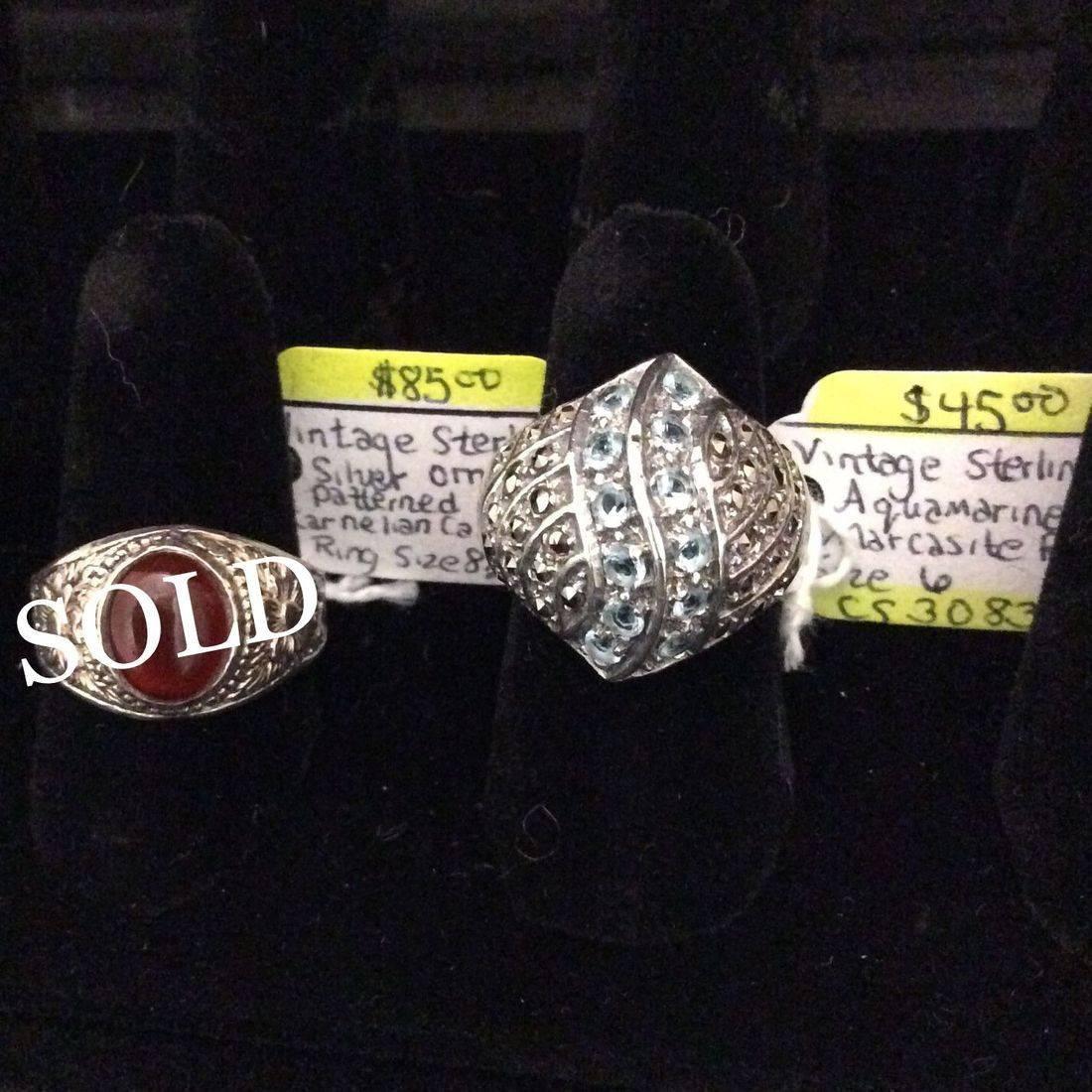 Vin. Sterling, Ornate Patterned, Carnelian Cabochon Ring  $85,  Vin. Sterling, Aquamarine, Marcasite Ring  $45.00