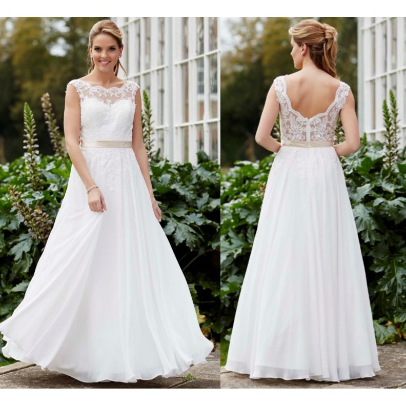 Simple wedding dress, boho, lace, chiffon, under £600
