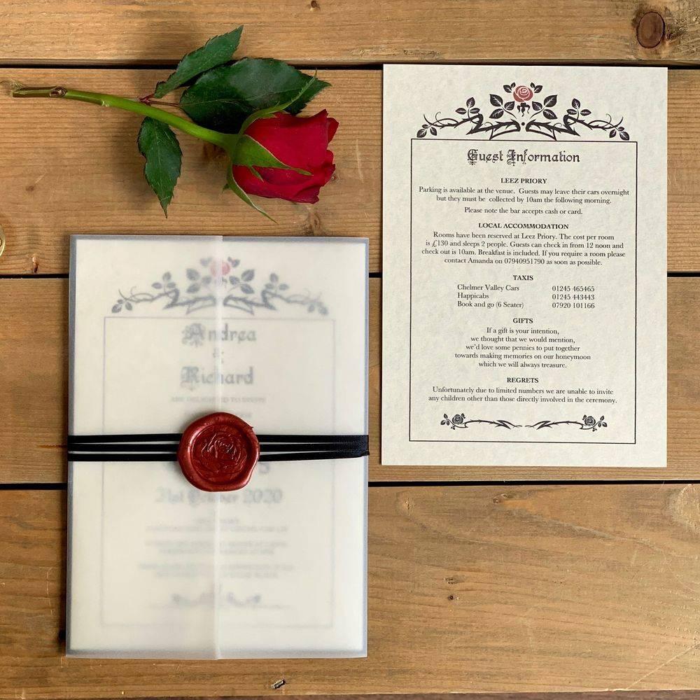 Beauty and the Beast Wedding Invitation, Disney Stye Invitation, Princess Wedding  Invitation, Castle wedding, Gothic Wedding