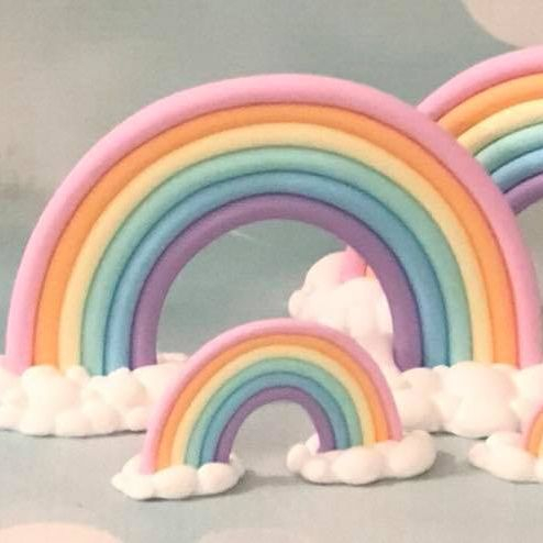 Rainbow Large Small Cake Topper Ornament