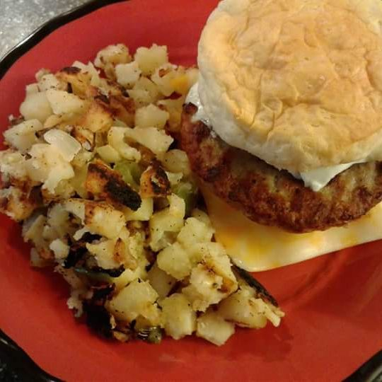 Breakfast biscuit with home fries