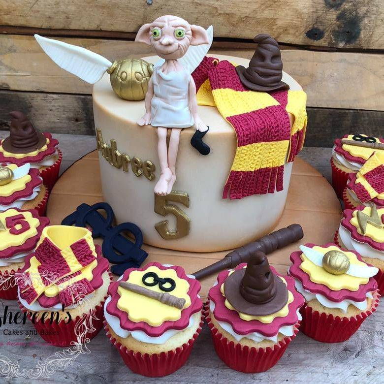 birthday cupcakes harry potter dobby scarf hat glasses sorting wand