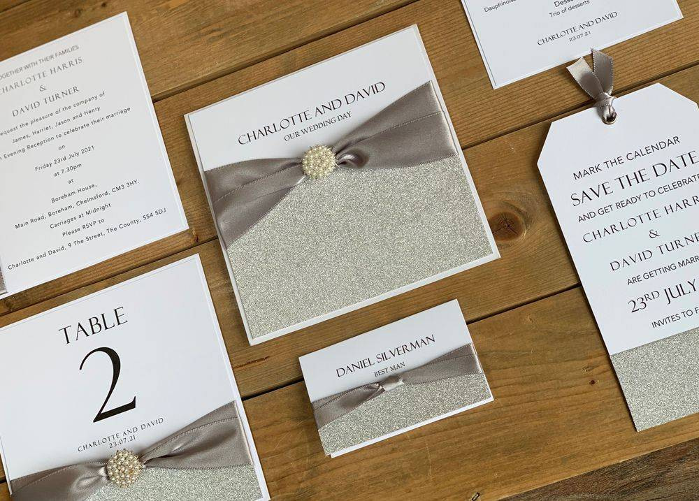 Wedding Stationery in white and silver