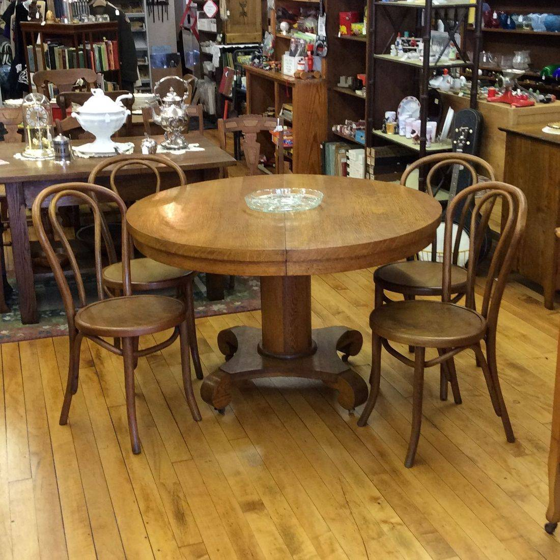 "Early 1900's Oak 48"" Round Table w/4- Bentwood Oak Chairs   $350.00"