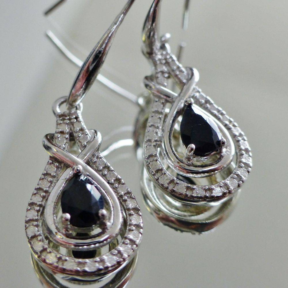 closeup picture of a pair of sterling silver tear drop shaped black onyx earrings