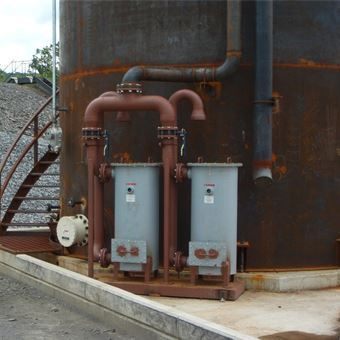 API 650 Welded steel storage tank piping: Ground unit for desiccant system.