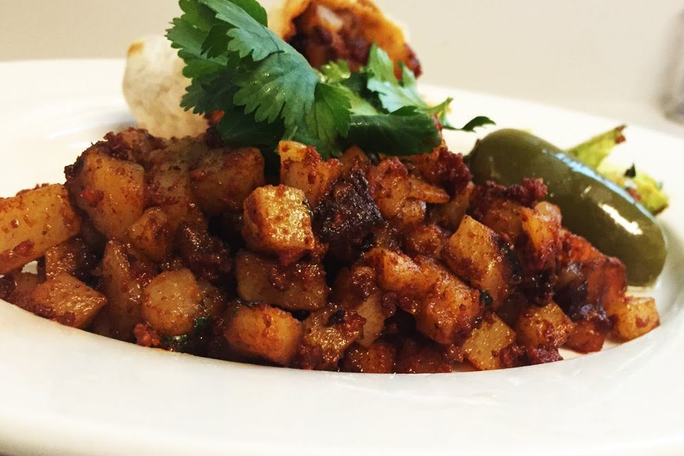 Papas con chorizo is a great addition to breakfast