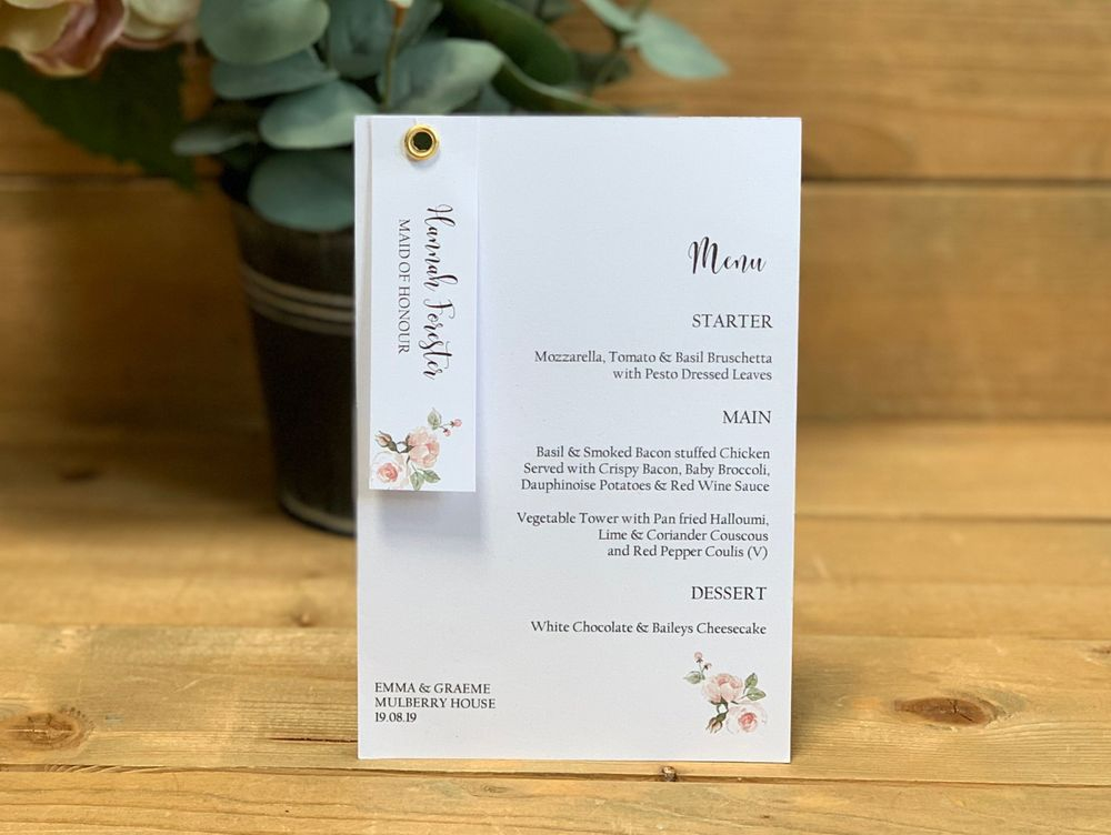 Menu Card and Guest Name Tag white with pink roses
