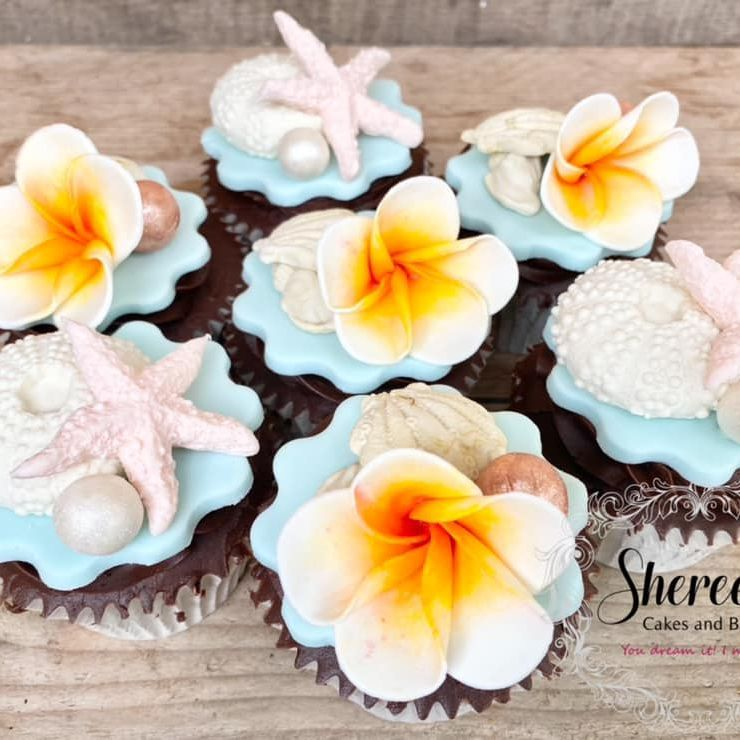 Tropical Cupcakes Frangipani Starfish Shells Tropical Beach