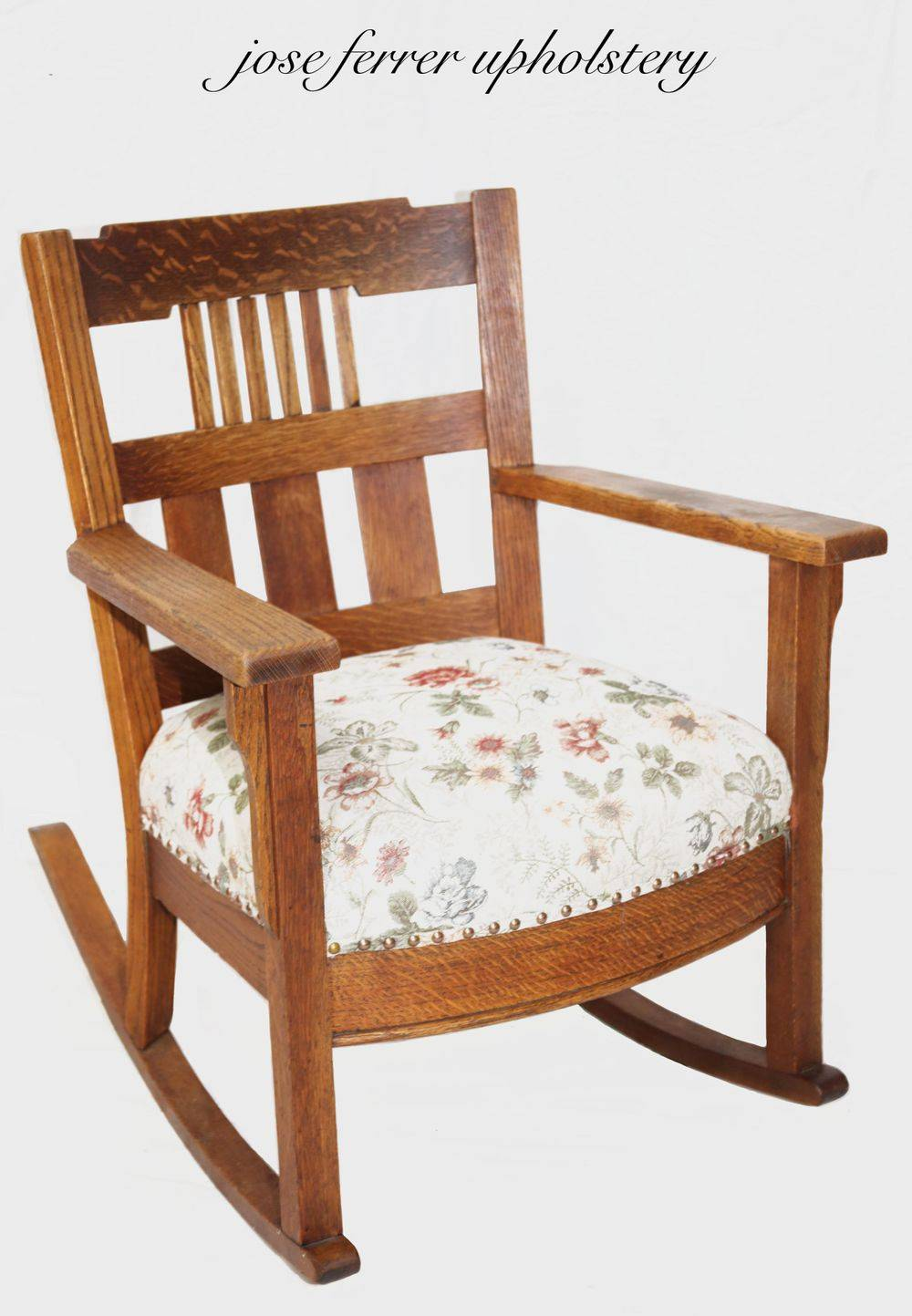 rocking chair with pullover seat in floral print pattern