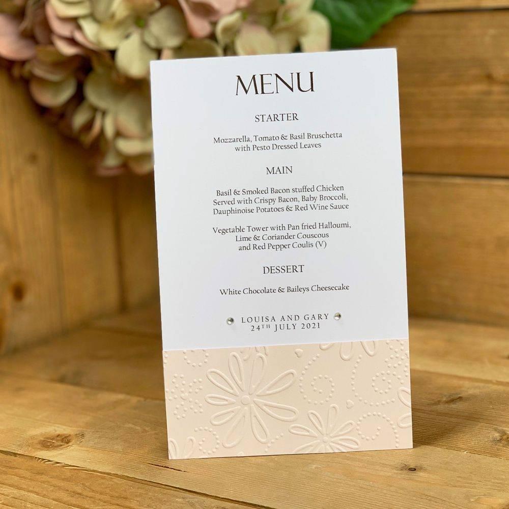 White and Blush pink menu