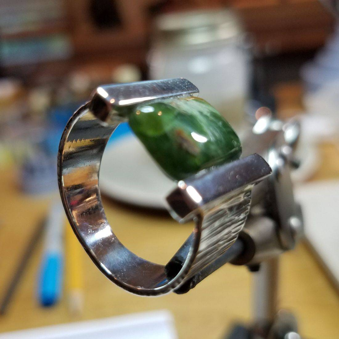 Emerald- Hammered Shank, Custom Setting $320.00