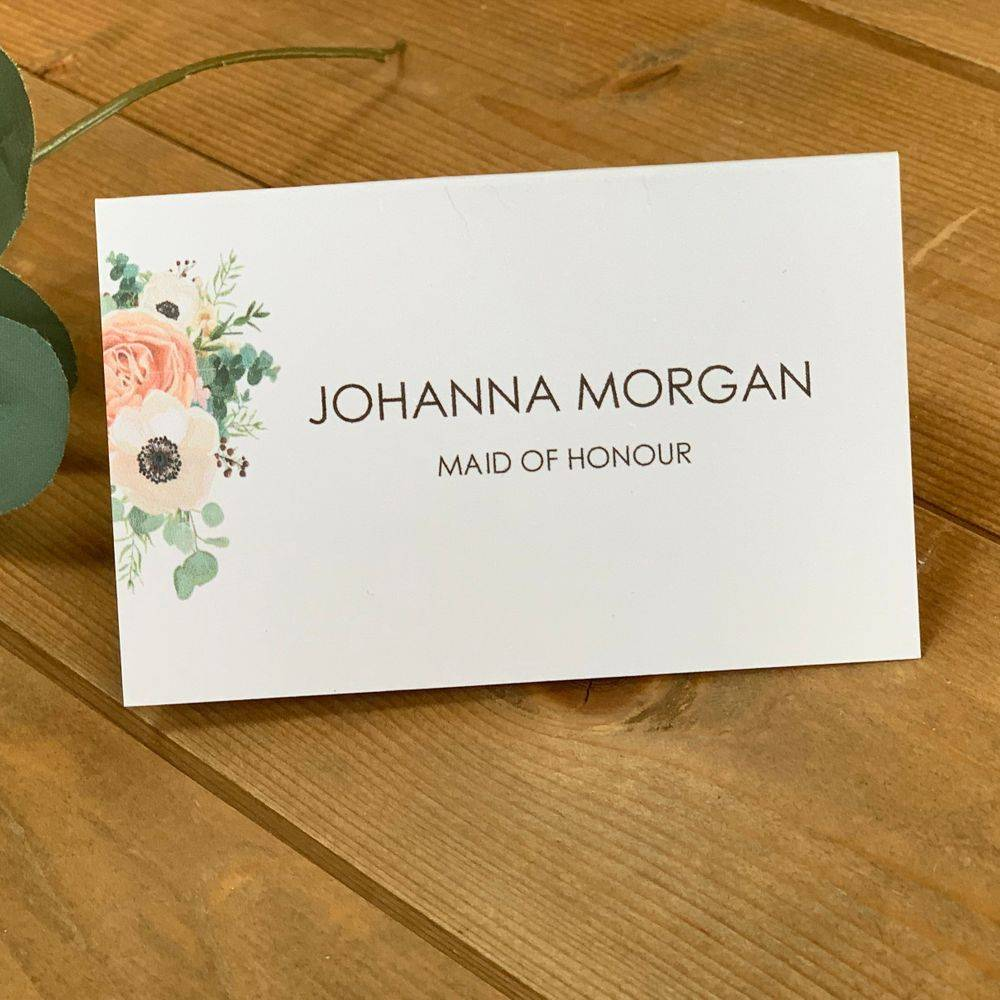 Wedding Place name card with printed guest name and flowers