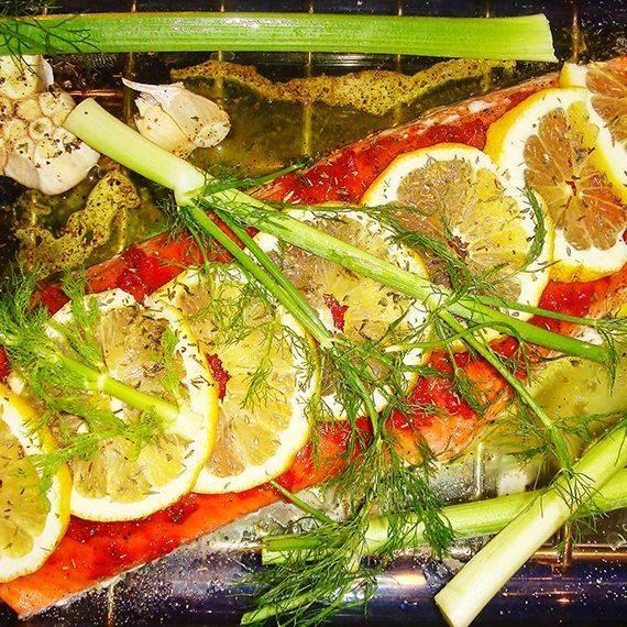 marinated baked salmon