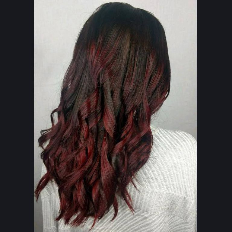 red to black hair long hair charlotte curls