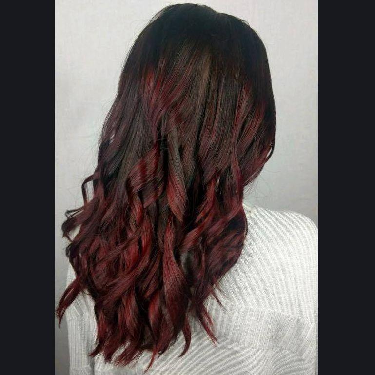 red to black hair long hair charlotte curls
