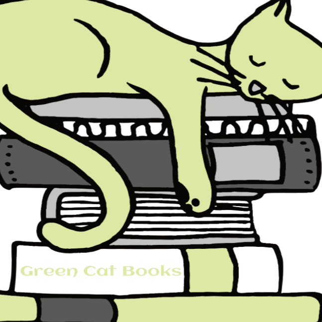 Author with Green Cat Books