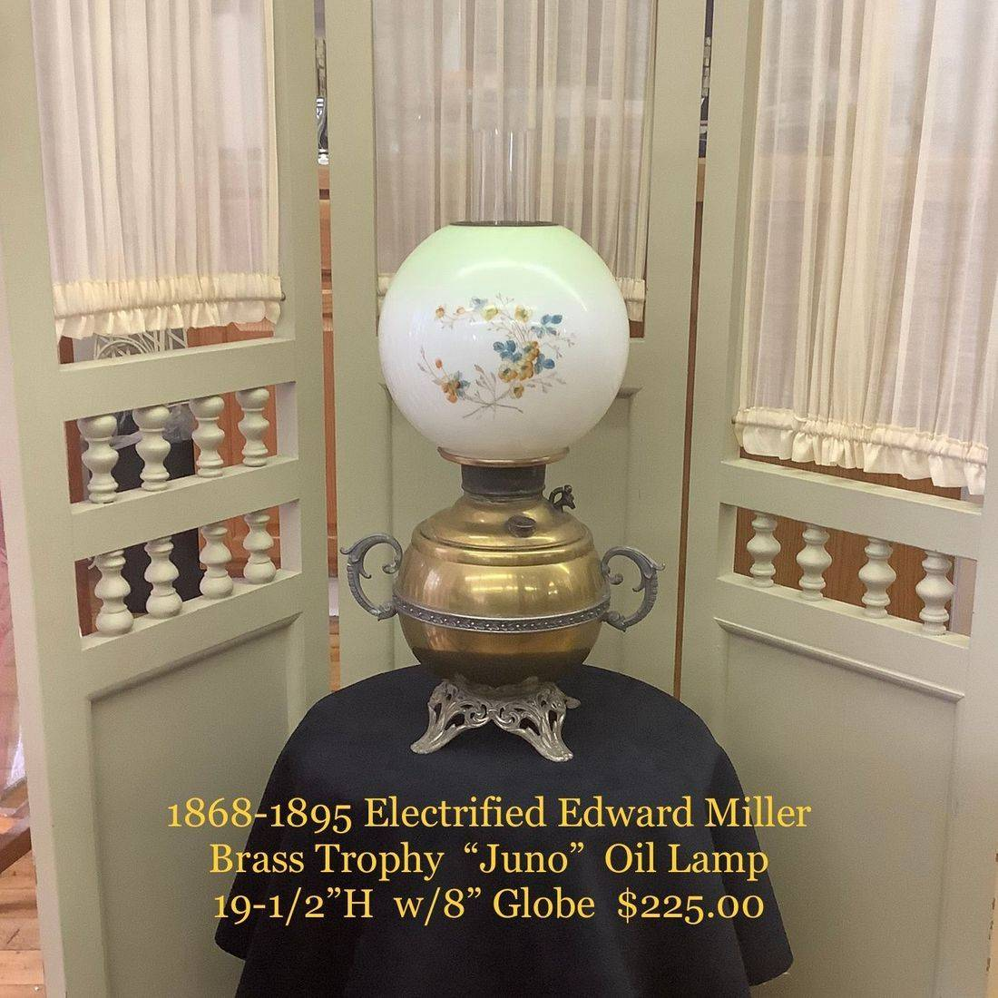 1868-1895 Electrified Juno Oil Lamp w/ Brass Font & Base by Edward Miller Co.