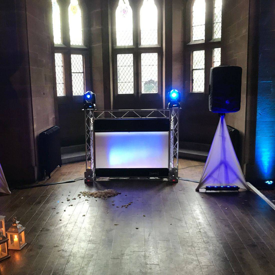 Cheshires most prestigious wedding  Castle Weddign DJ setup by Ollie Clarke