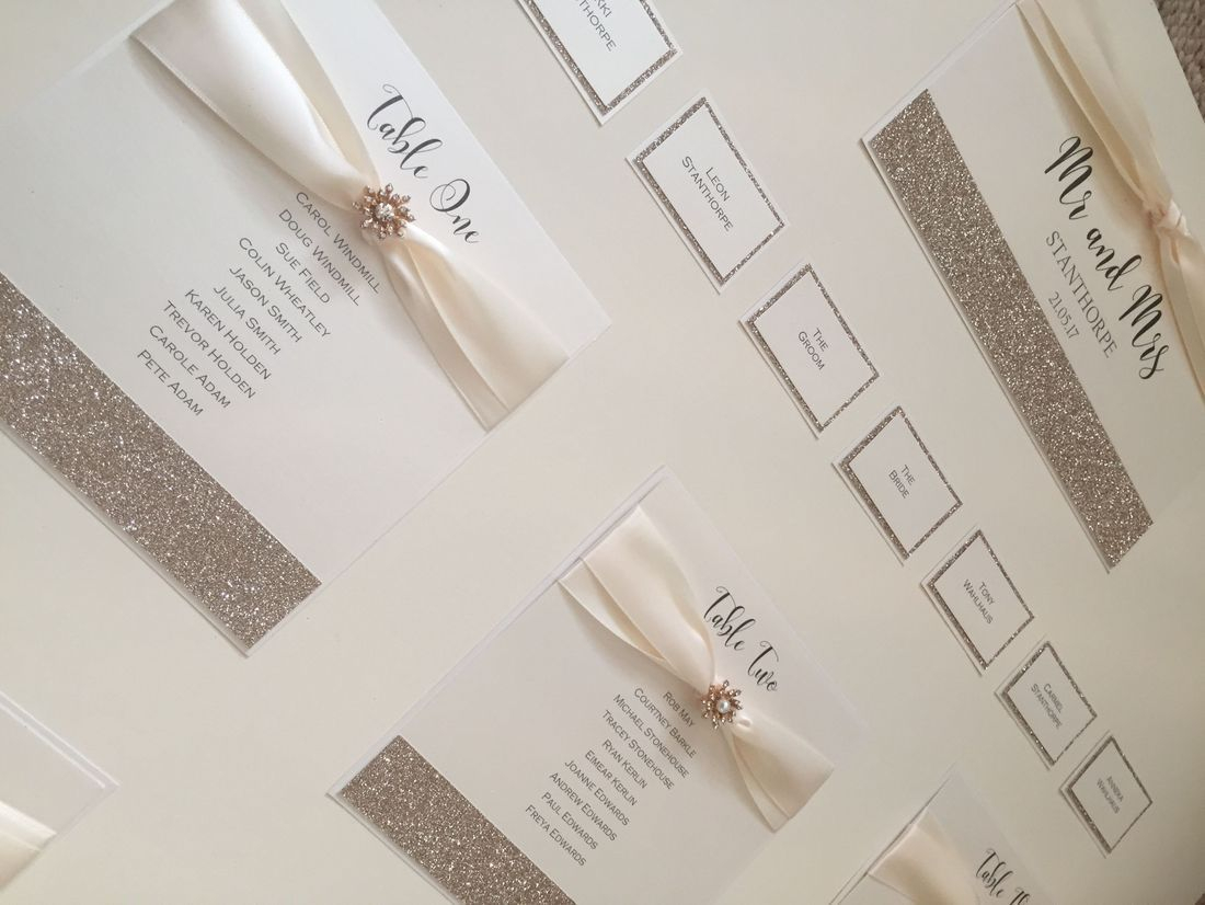 Glitter Table plan - Rose Gold and Ivory
