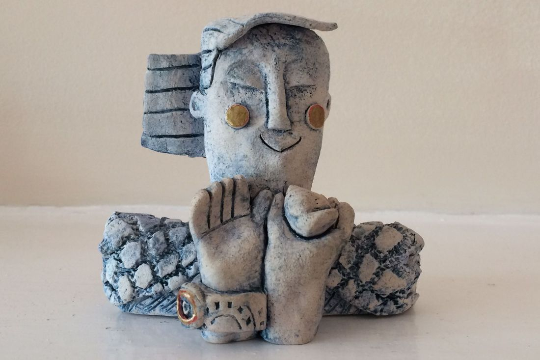 colebrookestoneandclay.com,colebrooke,stone,clay,sculpture,blue,oxide,cobalt,girl,bird,hand,girl with bird, ingrid,johannesson,ingrid johannesson