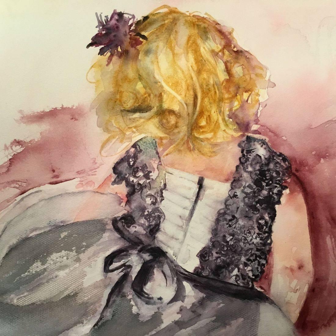 R Putbrese watercolor painting of child in tulle dress by Rebecca Krutsinger