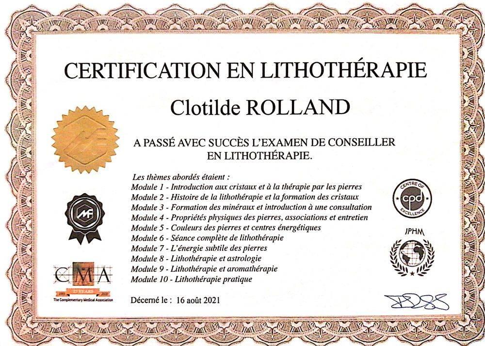 lithotherapie clotilde rolland lithotherapeute nantes pierres certificat formation lithotherapie elixirs minéraux