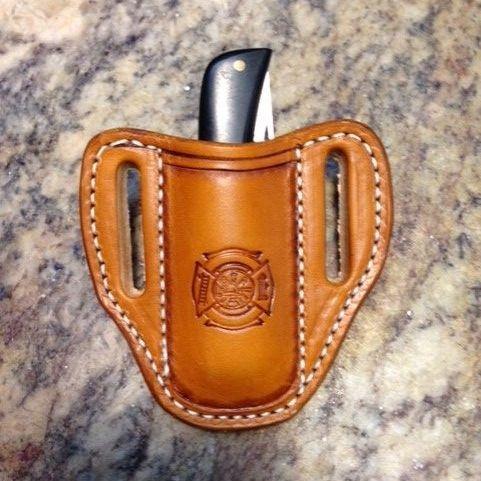 sod buster junior knife sheath , leather , firemans cross tooled ,