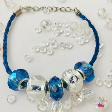 Blue Iridescent and Clear Lampwork Glass Beads on Silver Toned Bracelet