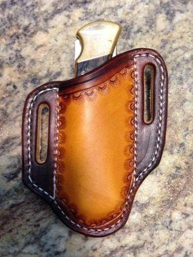 leather , sheath , buck 110 , pancake , tooled